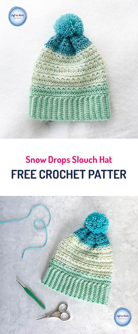 Snow Drops Slouch Hat Free Crochet Pattern #crochet #crafts #style ...