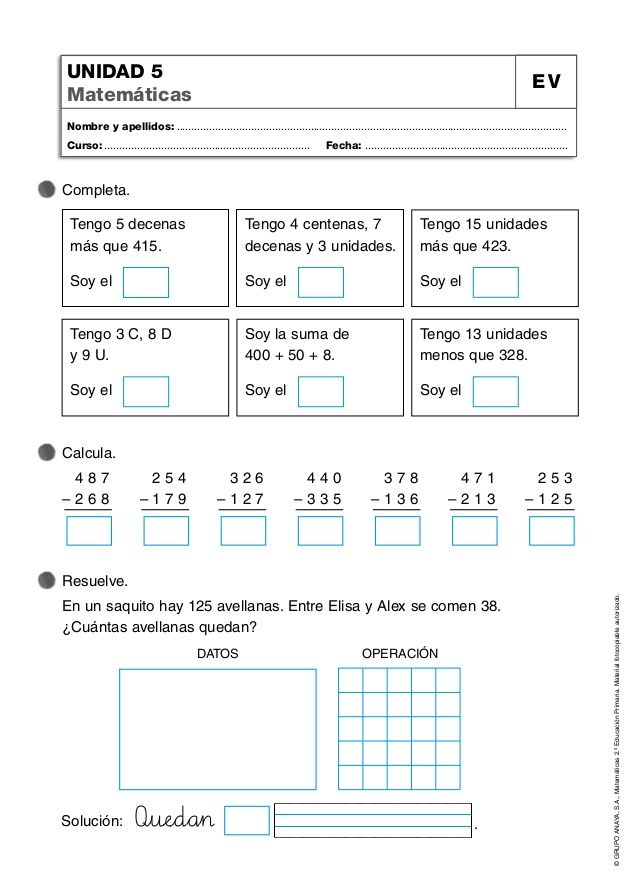 GRUPO ANAYA, S.A., Matemáticas 2.º Educación Primaria. Material ...