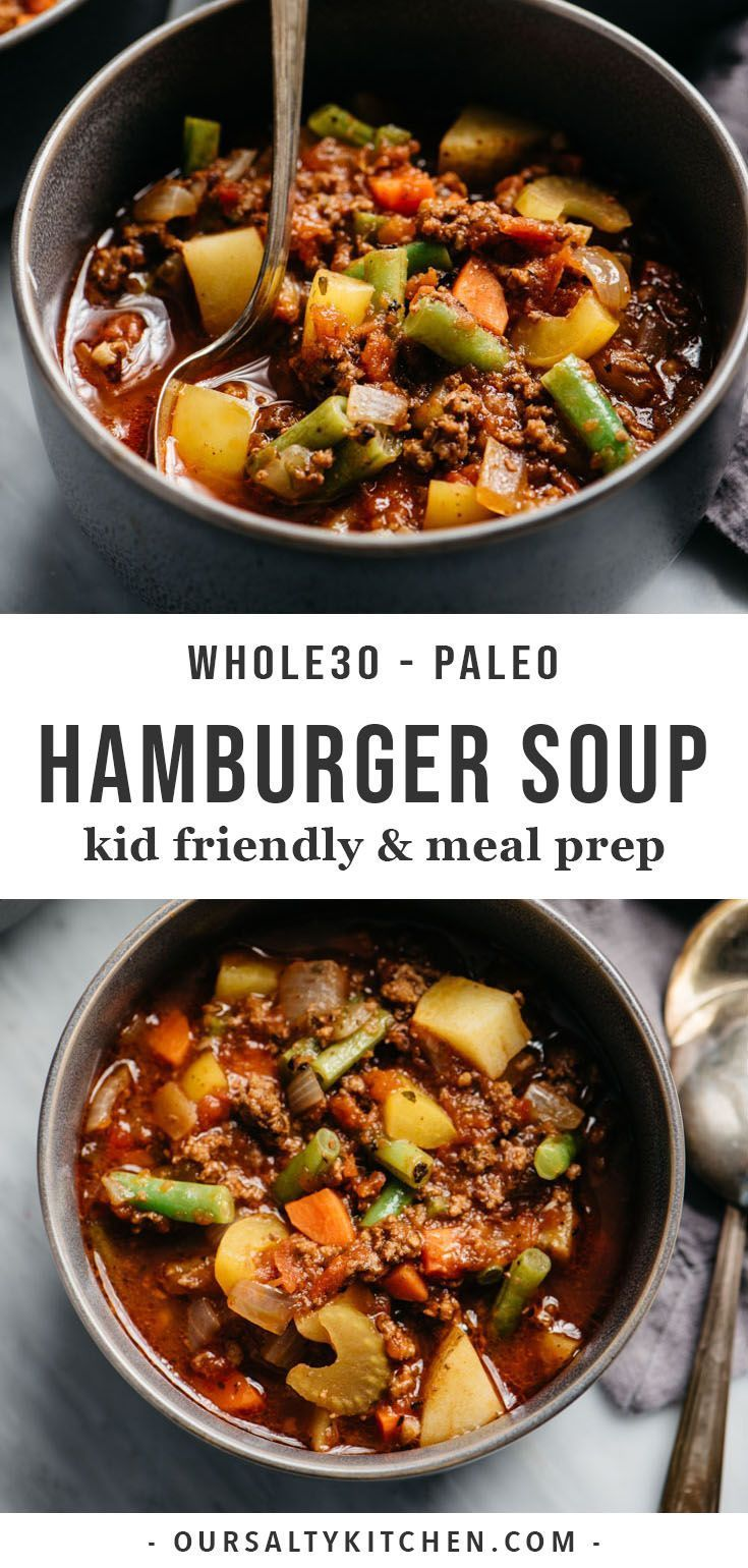 Whole30 Hamburger Soup Hamburger soup is my dinner hero! Ground beef is simmered with colorful vegetables in a savory tomato broth, and ready in under an hour. This Whole30 compliant soup recipe is easy to prepare, nutrient dense, and most importantly kid approved. Hamburger soup is healthy, hearty, and delicious, also makes for an excellent freezer stash - so get your meal prep containers ready and your soup on!