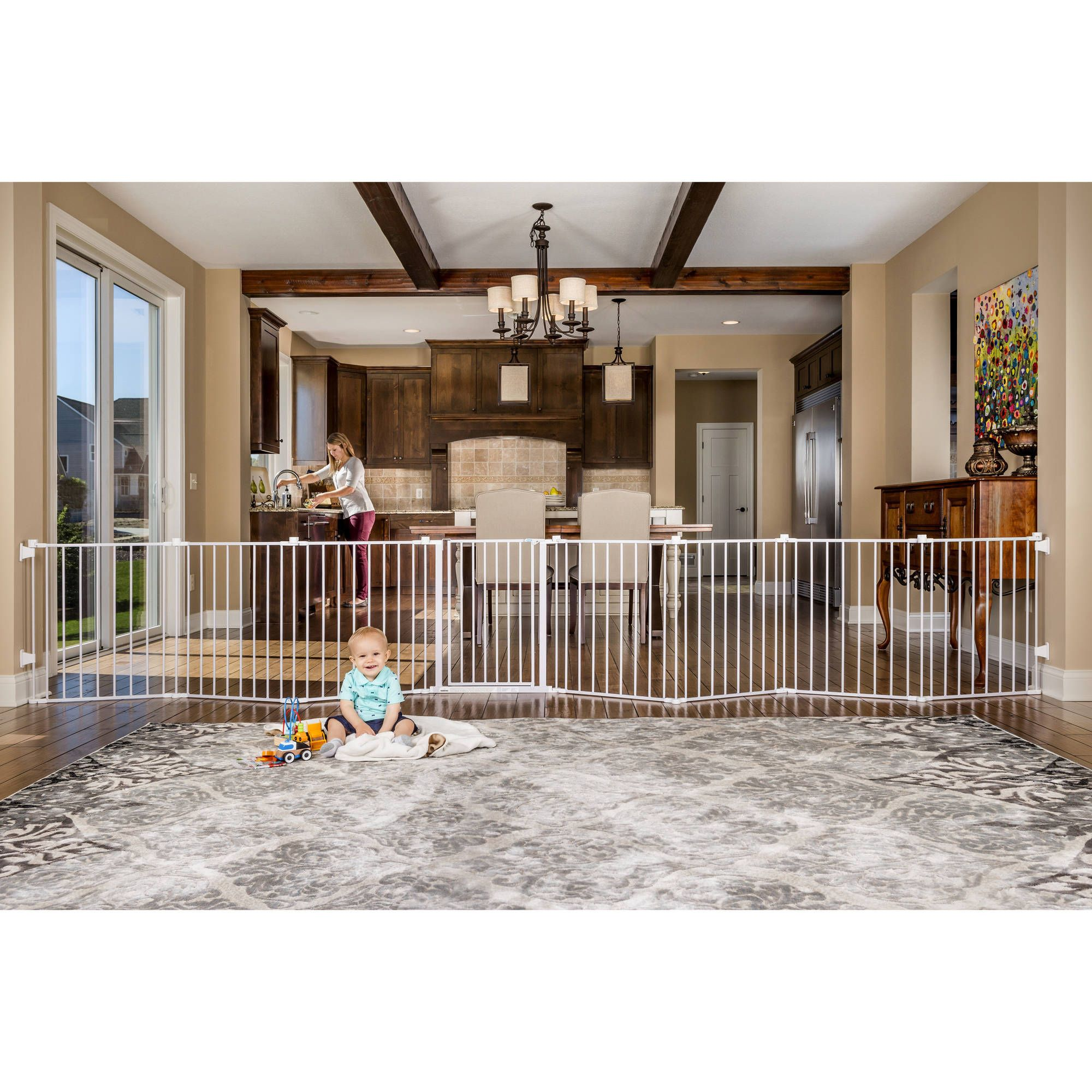 Regalo 192 Inch Super Wide Configurable Baby Gate and 8 Panel Play