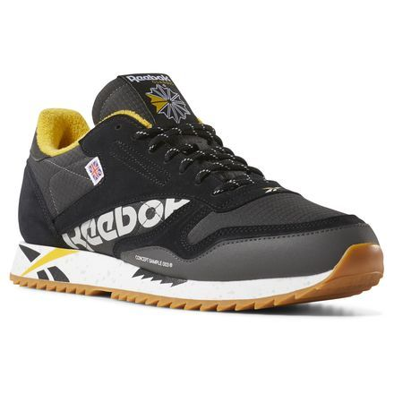 e6b1abae427 Reebok Unisex Classic Leather Ripple Altered in Black   Coal   White   Gold  Size 6.5 - Retro Running Shoes