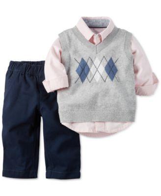 28288f4a7 Carter's Baby Boys' 3-Piece Sweater Vest, Shirt & Pants Set | cute ...