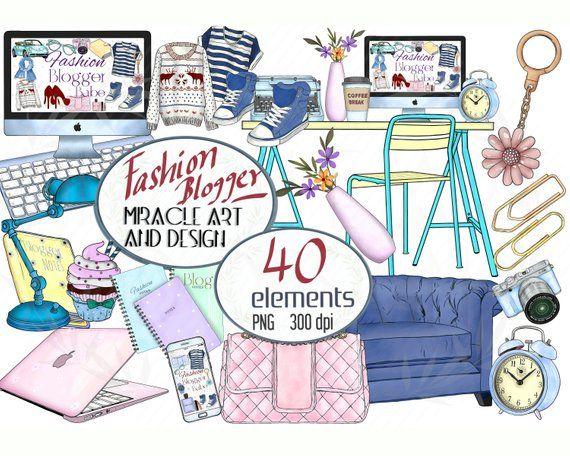 Fashion Blogger Boss Lady Clipart Glam Clip Art Blogging Babe Girl