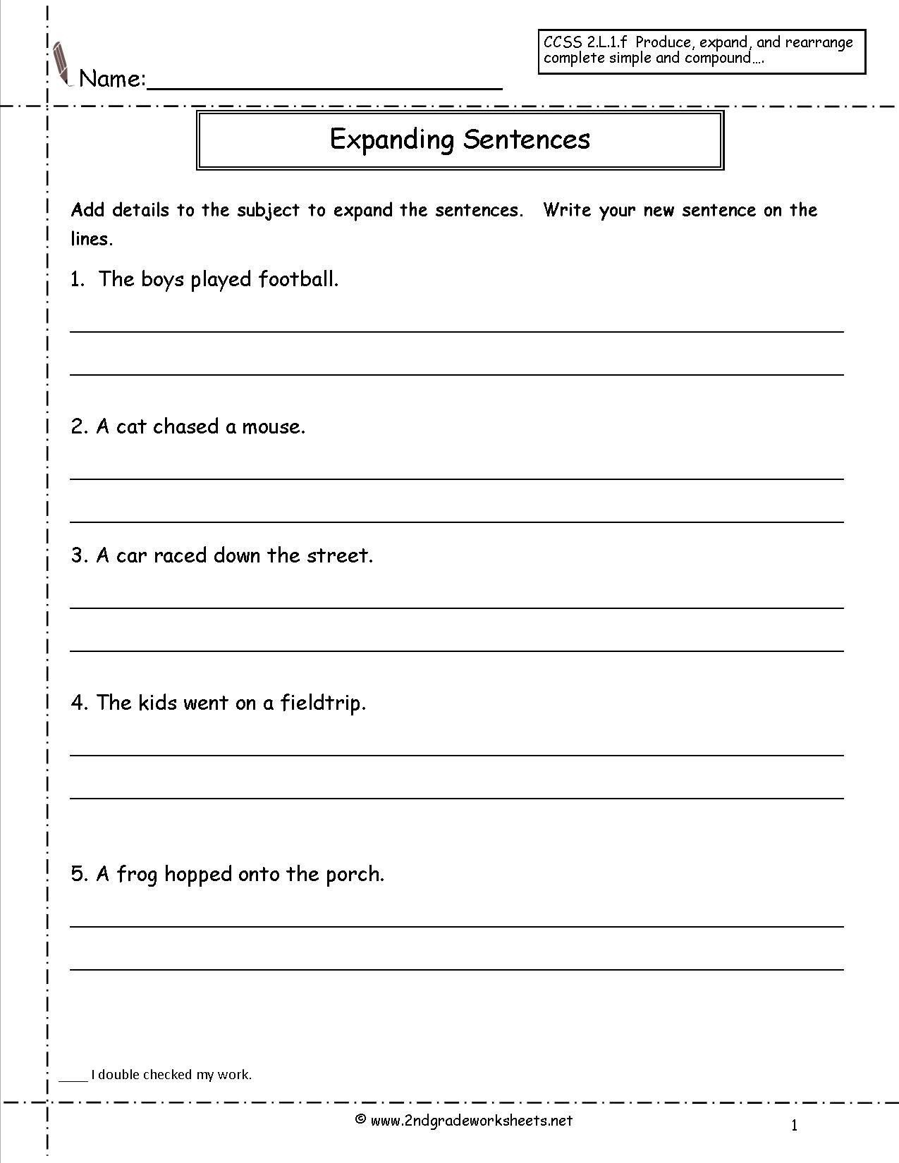 Kindergarten Writing Sentences Worksheets Copy Sentences