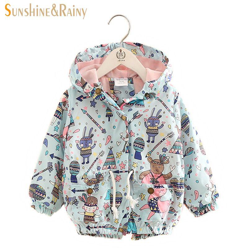 Nice 2017 Baby Girl Jackets Coats Cartoon Graffiti Hooded ...