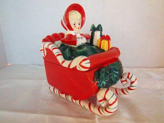 Vintage Lefton Christmas Sleigh Candy Cane by Sarasvintageattic