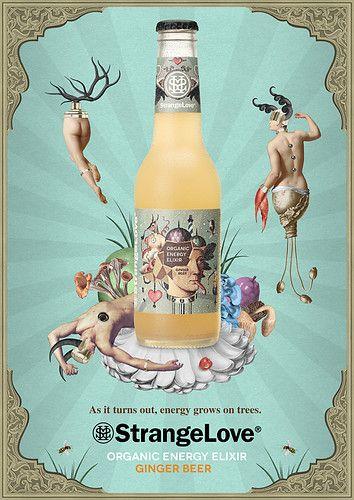 strangelove organic energy drink on packaging design served / print  / art / poster / design