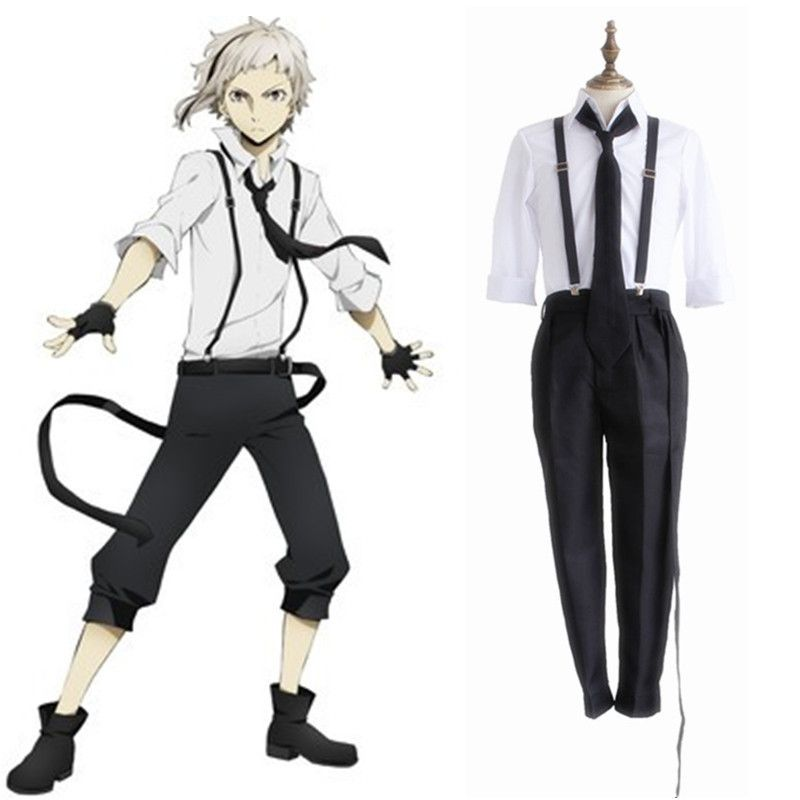 Find More Clothing Information about Atsushi Nakajima cosplay costumes Japanese anime  Bungo Stray Dogs clothing(gloves+suspender +tie+shirt+pants),High Quality shirt print,China shirts letters Suppliers, Cheap shirt batik from anime costumes supermarket on Aliexpress.com
