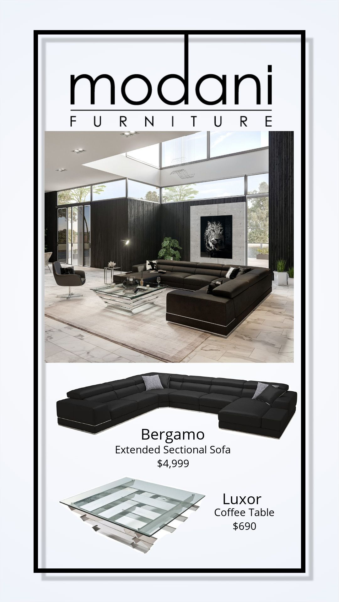 Stupendous Bergamo Extended Sectional Sofa Black Shop The Look In Pabps2019 Chair Design Images Pabps2019Com