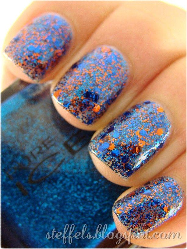 Blue + Orange Nails!