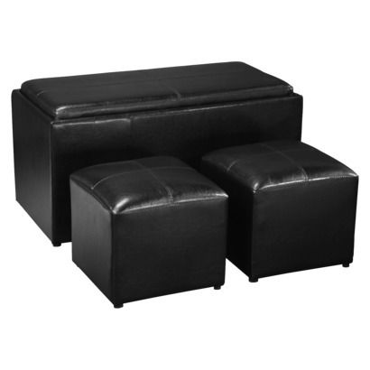 Sheridan Black Leather 4pc Double Storage Ottoman With Tray Plus 2