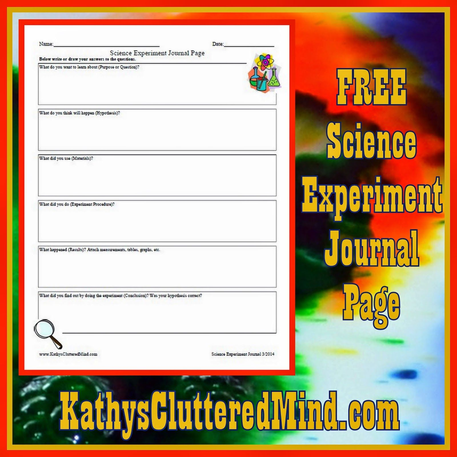 Free Science Experiment Journal Page #poppinsbooknook ...