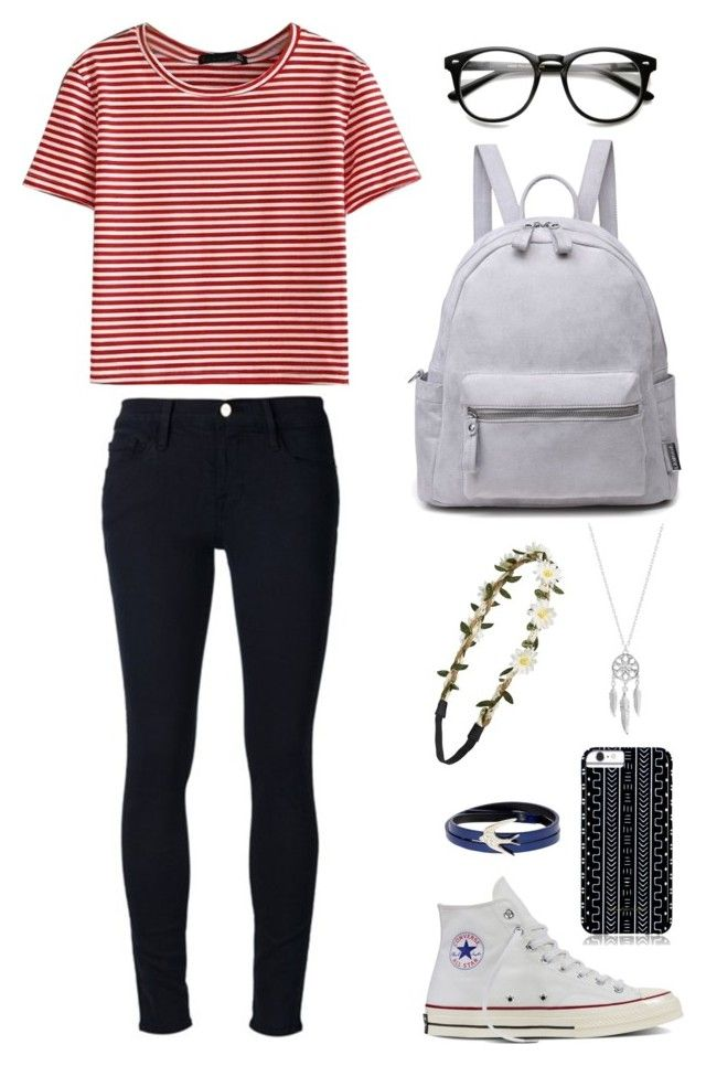 U0026quot;Back to school outfitu0026quot; by abigaillieb on Polyvore featuring Frame Denim WithChic Converse ...