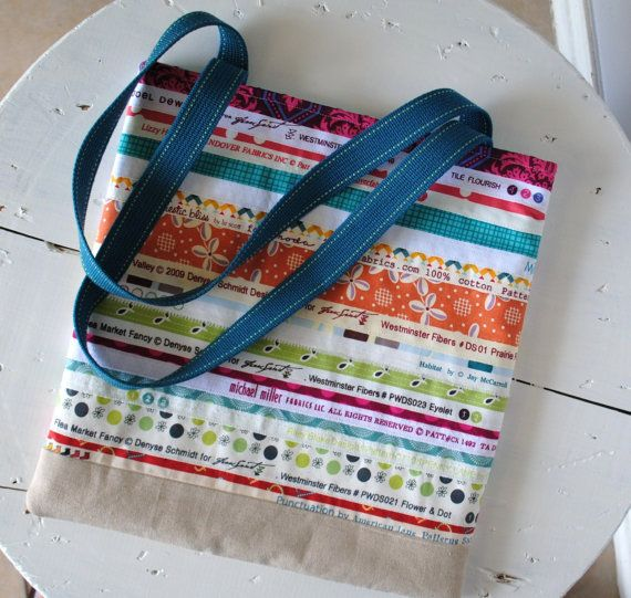 Selvage Tote by greenletterday on Etsy, $35.00