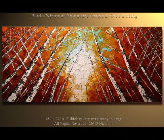 48 Large Impressionist Palette Knife  Painting Silver by Nizamas, $380.00