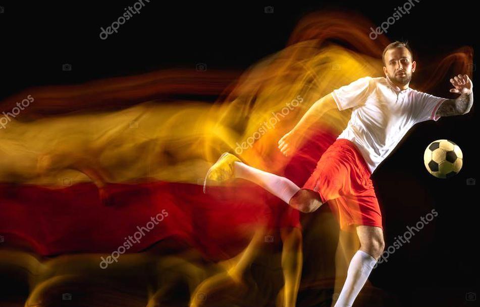 Male Soccer Player Kicking Ball On Dark Background In Mixed Light Stock Sponsored Kicking Ball Player Male Ad In 2020 Soccer Players Dark Backgrounds Kicks