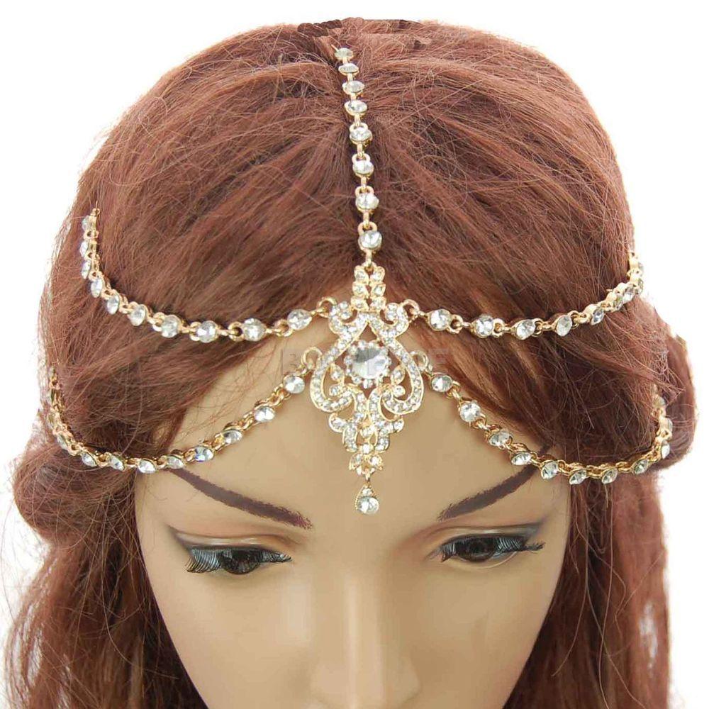 headpiece hair forehead bindi tikka diamante head chain indian