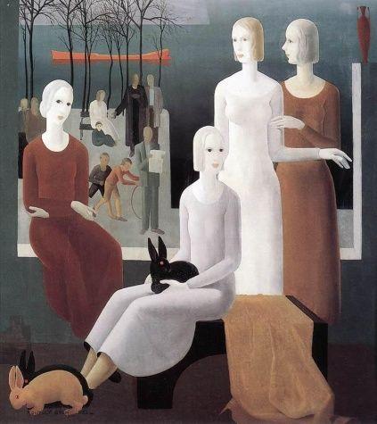 Girl Friends - Kontuly, Béla - Novecento - Oil on canvas - Genre - TerminArtors