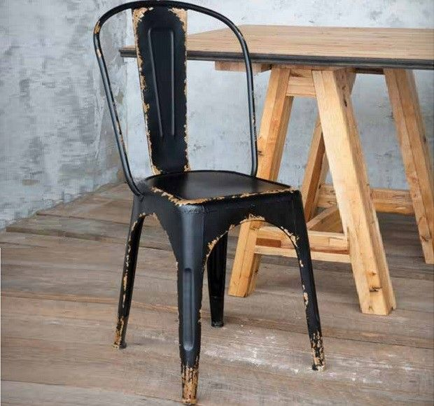 Metal Bistro Chairs Slipcover Chair And A Half Antique Black Stackable Farm House