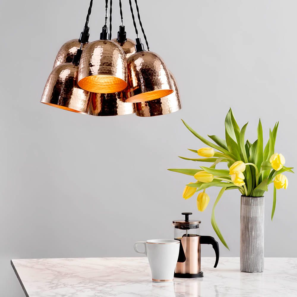 Copper cluster copper marble trend yellow tulips morning coffee