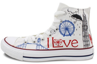 Converse All Star London Landmarks Hand painted High Top