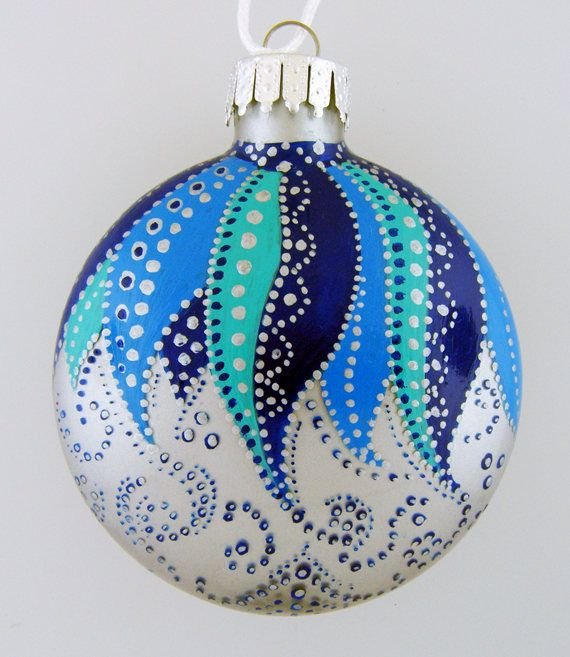 Hand Painted Glass Christmas Ball Blue Silver Christmas Ornaments Painted Christmas Ornaments Handmade Christmas Ornaments