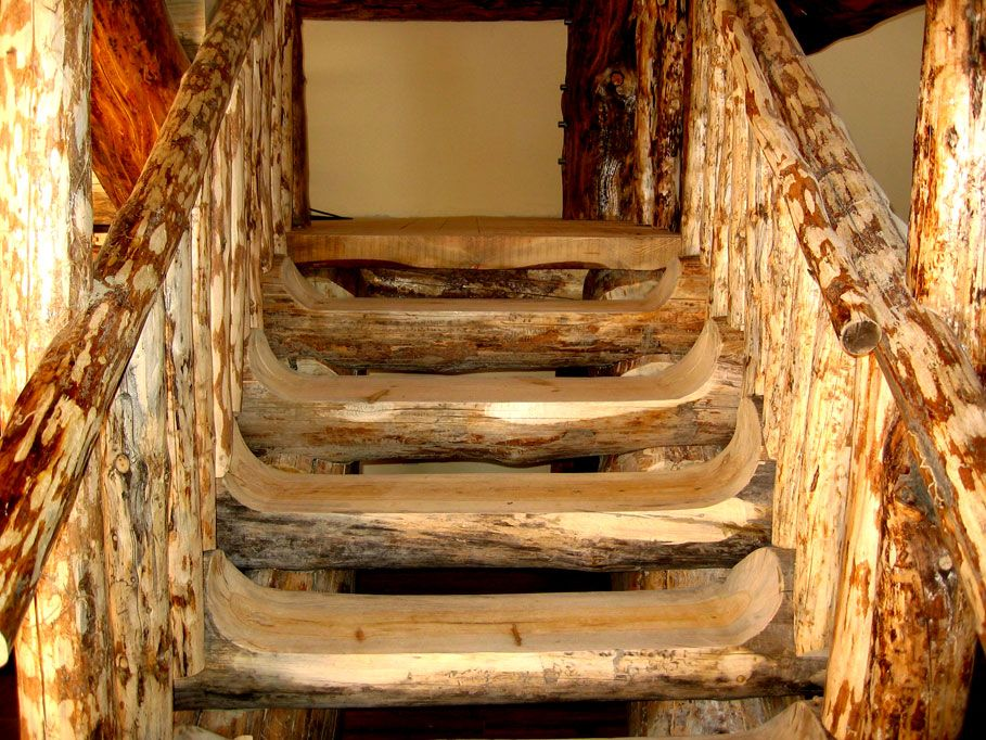 rustic staicases Custom Log Stairs Railings Costa Rica