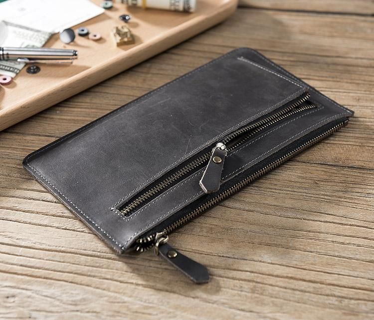 100% authentic 9047c cc740 Handmade Leather Mens Clutch Wallet Cool Leather Wallet Zipper Phone ...