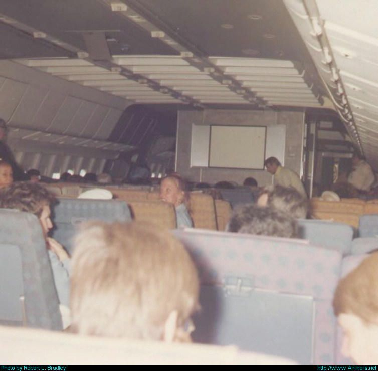 Lockheed L-1011-385-1 TriStar 1 aircraft, 1970s on Eastern. This cabin still has the 2-4-2 seating before the cattle car mentality took over.