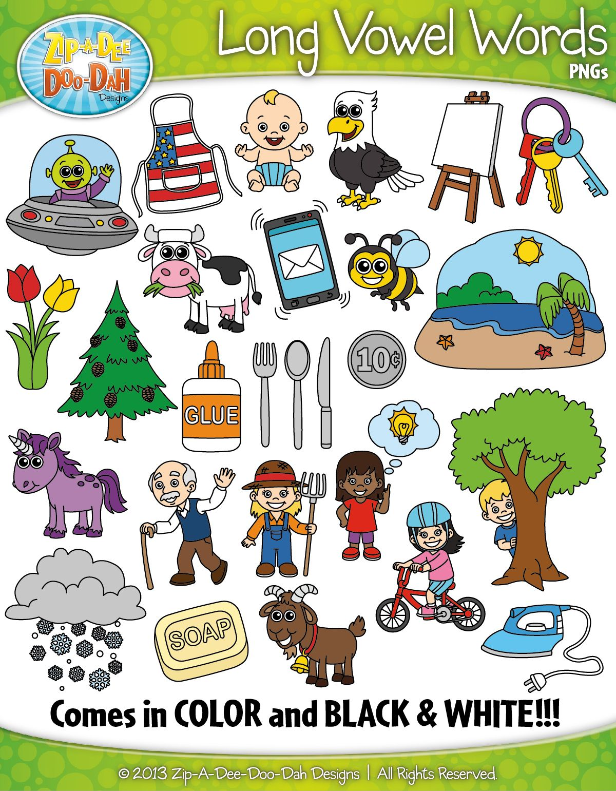 Long Vowel Sound Phonics Words Clipart Zip A Dee Doo Dah Designs Long Vowel Sounds Phonics Words Phonics
