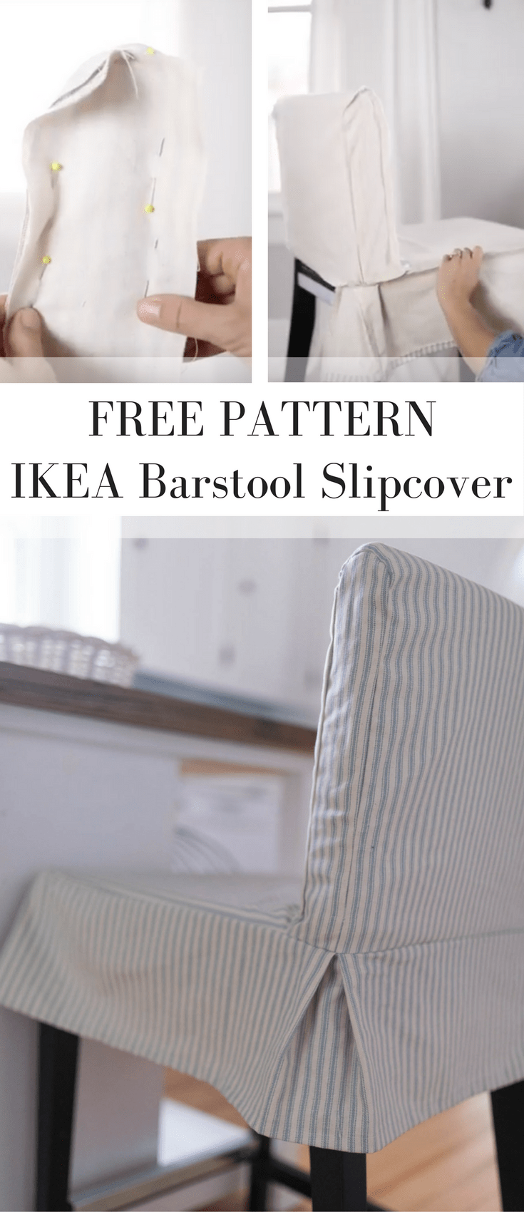 Learn How To Sew A Parsons Chair Slipcover For The IKEA HENRIKSDAL Bar Stool This Cover Sewing Pattern Includes Video Tutorial
