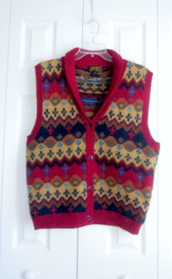Vintage Fair Isle Vest , Sleeveless Wool Sweater Vest, Womens ...