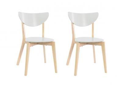 Chaises Design Bois Et Blanc Leena Lot De 2 Deco