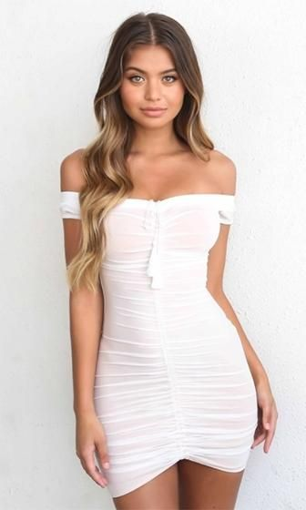 b4d72e319ad Leave Me Breathless White Sheer Mesh Off The Shoulder Ruched Bodycon Tassel  Mini Dress - Back in Stock!