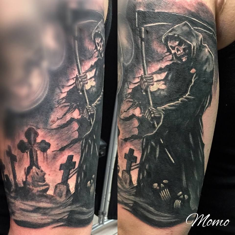 cac2d8b43 reaper and cemetary tattoo Scary Tattoos, Back Tattoos, Sleeve Tattoos, Skull  Tattoos,