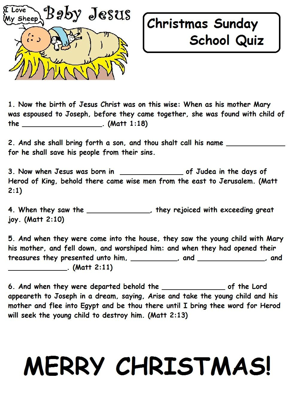 Christmas Quizzes For Sunday School Christmas quizzes