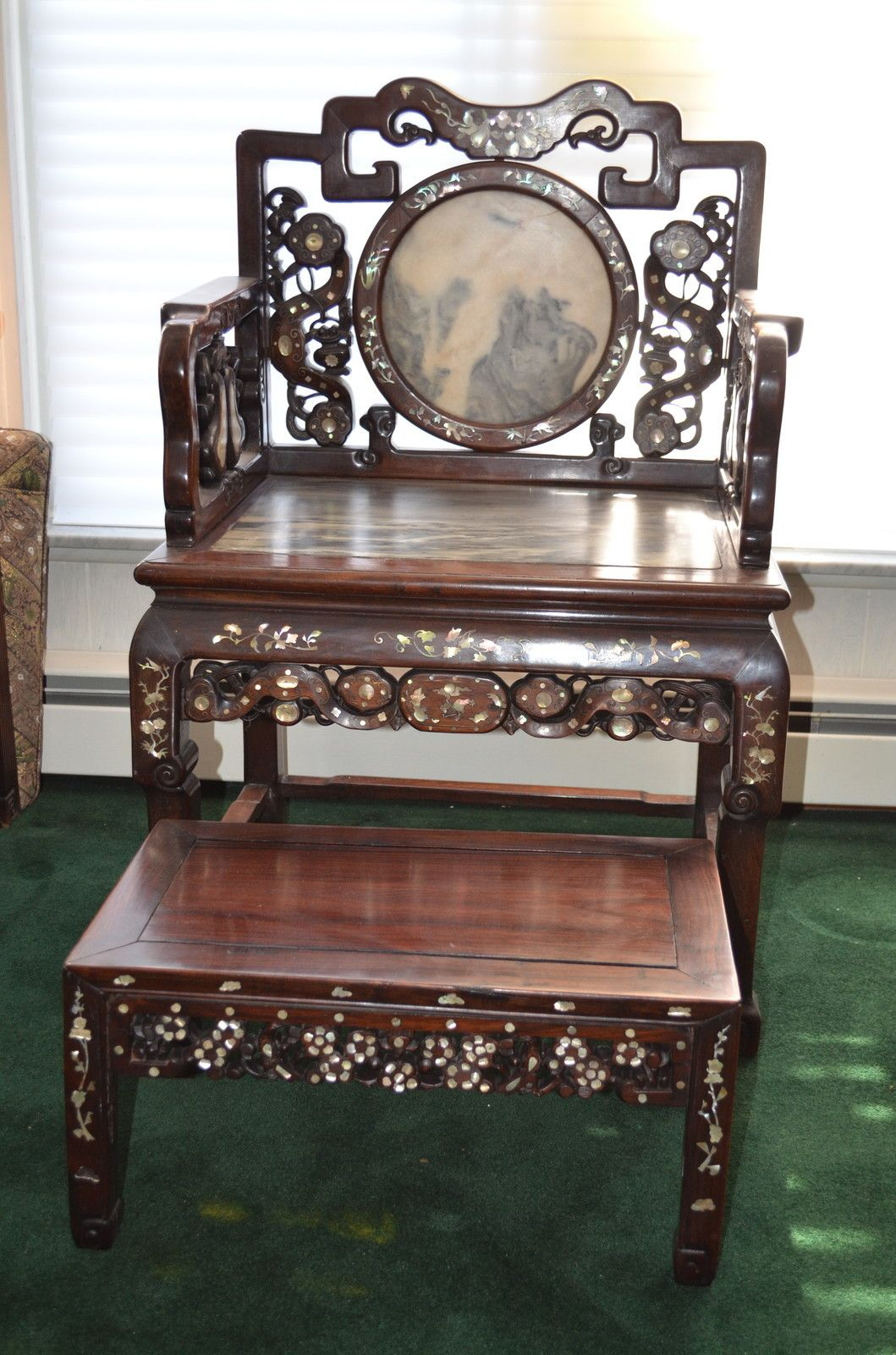 Antique Chinese Rosewood Chair And Foot Stool With Marble and Mother Of  Pearl Asian Furniture, - Antique Chinese Rosewood Chair And Foot Stool With Marble And Mother