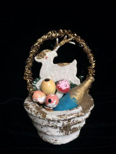 Antique-Dresden-Figural-Deer-Wine-And-Fruit-Basket-Christmas-Ornament
