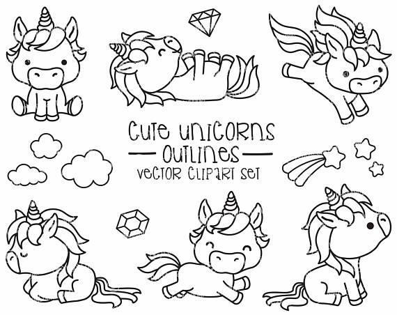 Premium Vector Clipart - Kawaii Unicorns Outlines - Cute Unicorns ...