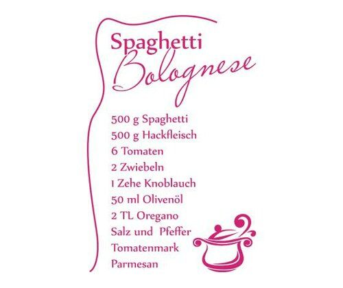 Spaghetti Bolognese Recipe Wall Sticker East Urban Home Colour: Pink, Size: 110 cm H x 167 cm W
