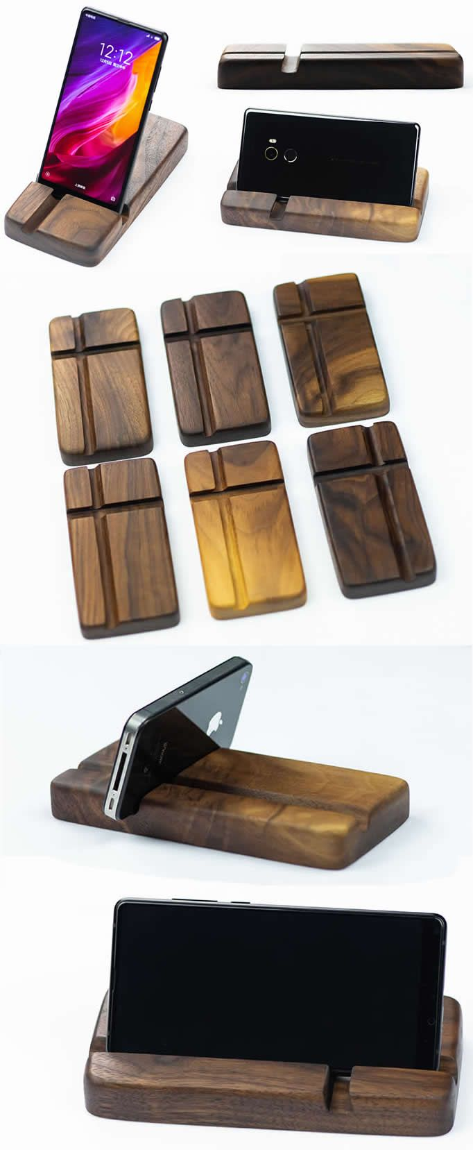 Wood Mobile Phone Iphone Ipad Smartphone Tablet Holder Stand