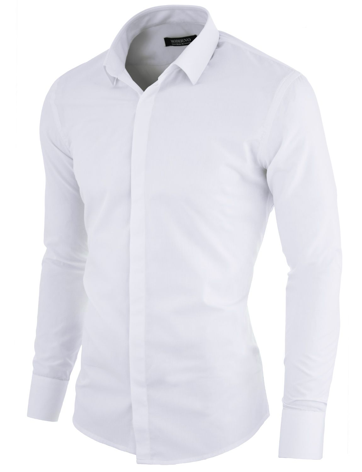 e7ac6032fcd MODERNO Slim Fit Mens Dress Shirt with Hidden Closer White. FREE shipping  worldwide! 30 days return policy
