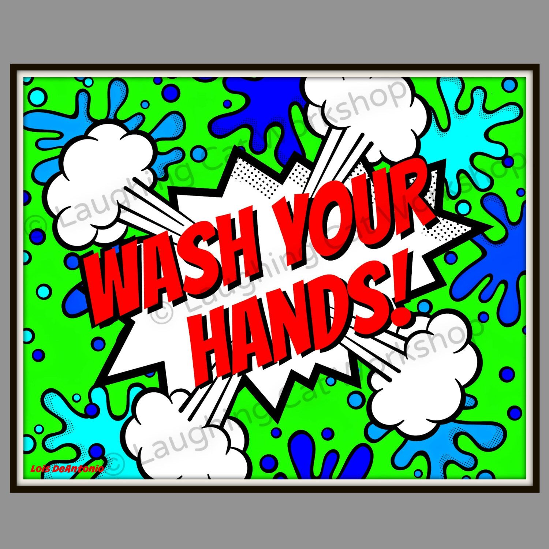 comic superhero pop art for kids bathroom wall decor school nurse art doctor medical office wall art wash hands school dorm art