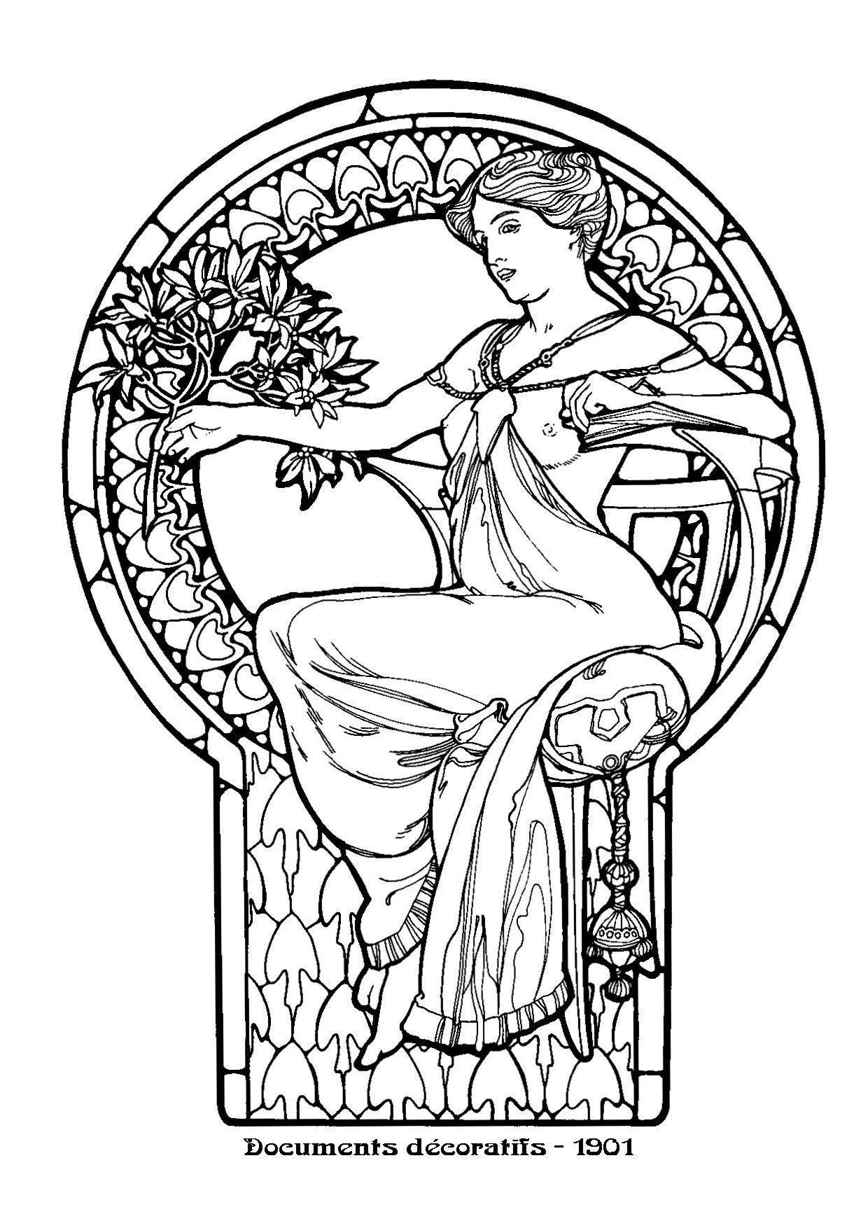 Images Art Nouveau Line Drawings Google Search Coloring Pages  # Muebles Dibujos Para Colorear