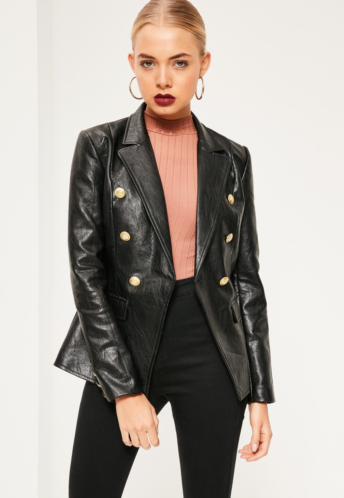 Missguided Black Faux Leather Military Blazer Moda
