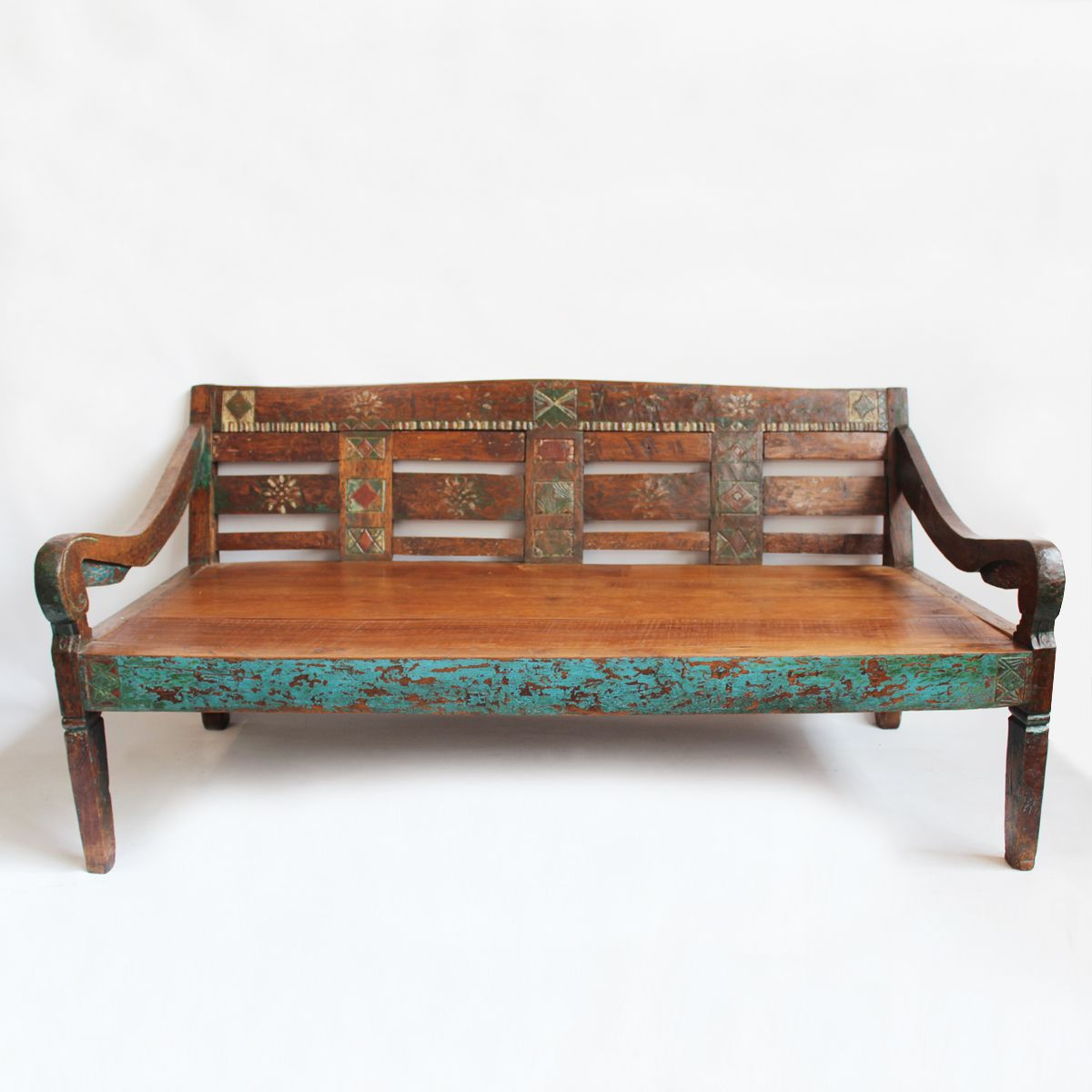 Hand Carved Teak Daybed With Beautiful Details. Turqu… In