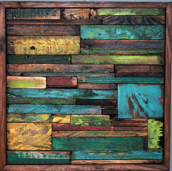 Nice Abstract Painting On Wood Reclaimed I Love The Look Of This Piece Of Modern  Wall Art