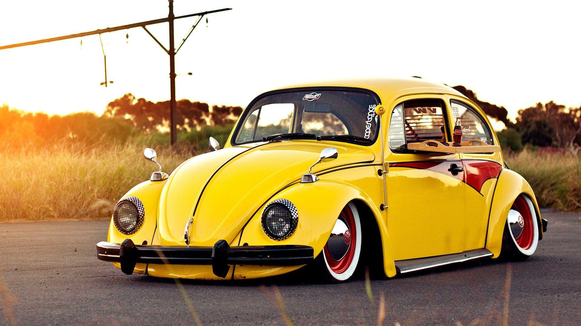 yellow tuned volkswagen beetle sunny day hd wallpaper zoomwalls vw pinterest beetles