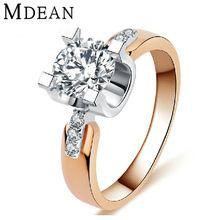 MDEAN 18 K złota Róża wypełniony Zaręczyny Obrączki Dla Kobiet CZ diament Biżuteria W Stylu Vintage kobiety Akcesoria pierścionki bague 18KR015(China (Mainland))