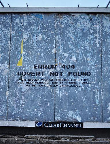 Error 404 - Advert not found (close up)